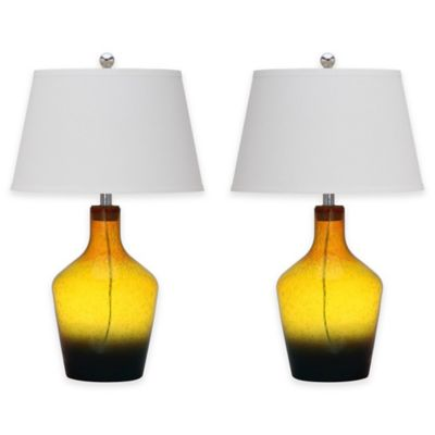 Safavieh Antiquarian Table Lamps in Yellow with Cotton Shades (Set of 2)