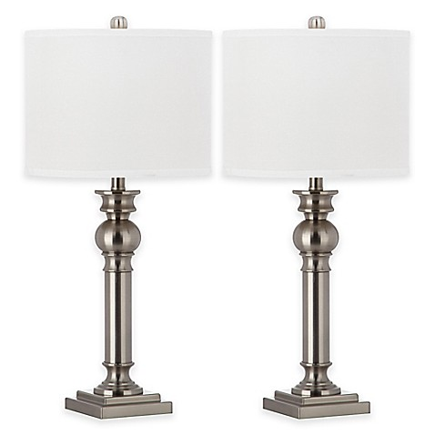 Buy safavieh argos table lamps in nickel with cotton for Table lamps argos