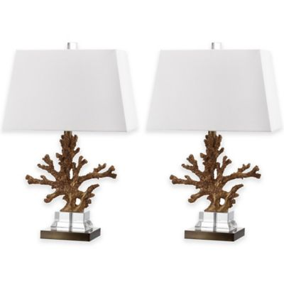 Safavieh Bashi Faux-Coral Table Lamps in Gold with Cotton Shade (Set of 2)