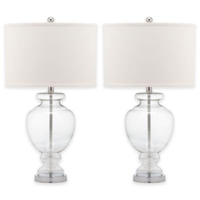 Safavieh Clear Glass Table Lamp with Cotton Shade (Set of 2)