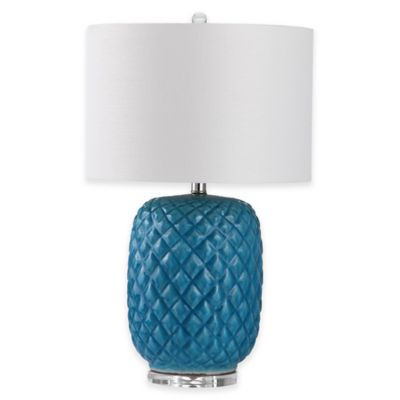 Safavieh Chaney Table Lamp in Blue/White with Cotton Shade
