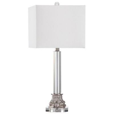 Safavieh Chena Table Lamps in Silver with Cotton Shades (Set of 2)