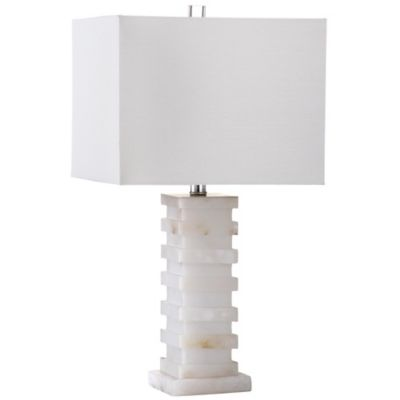Safavieh Cinder Table Lamp in White with Cotton Shade
