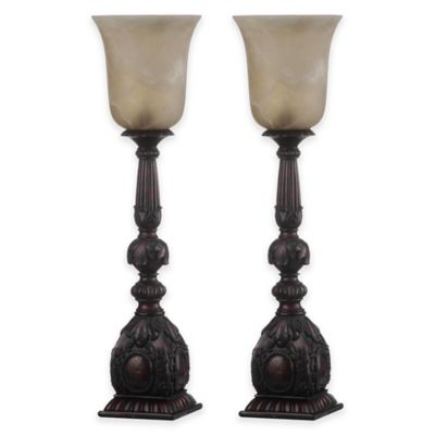 Safavieh Dion Artifact Table Lamp in Oil Rubbed Bronze with Glass Shade (Set of 2)