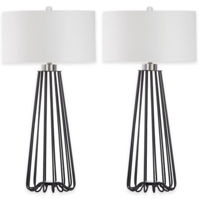 Safavieh Estill Table Lamps in Black with Cotton Shade (Set of 2)