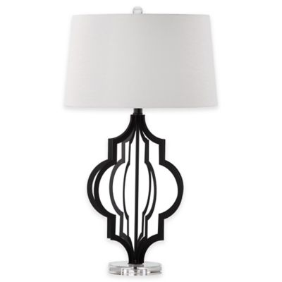 Safavieh Flint Table Lamp in Black with Cotton Shade