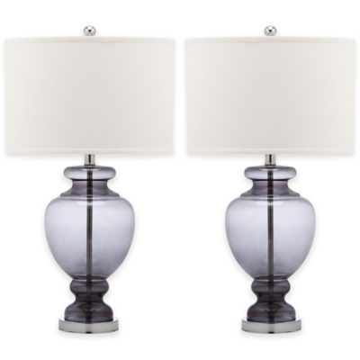Safavieh Grey Glass Table Lamps with Cotton Shades (Set of 2)