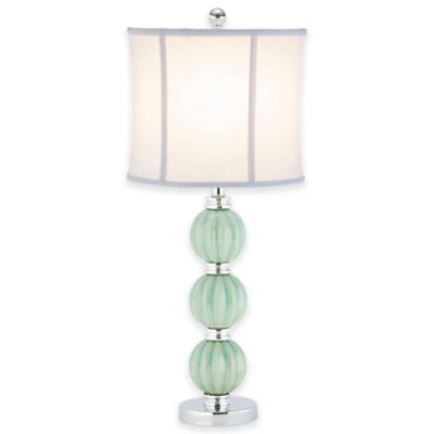 Safavieh Stephanie Green Globe Table Lamp with White Linen Shade