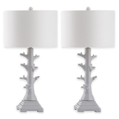 Safavieh Styx Table Lamps in White with Cotton Shades (Set of 2)