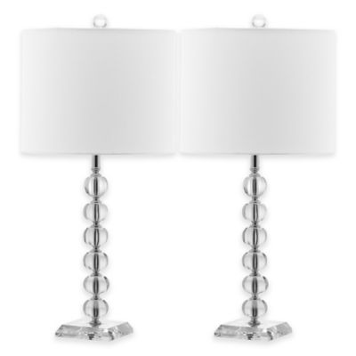 Safavieh Victoria Table Lamps in Clear/White with Linen Shades (Set of 2)