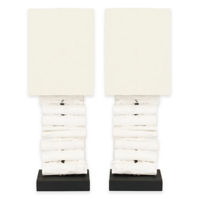 Safavieh Woodland Table Lamps in White Wash with Off-White Shades (Set of 2)