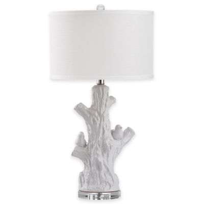 Safavieh Lightwood Tree Table Lamp in Antique White with White Shade