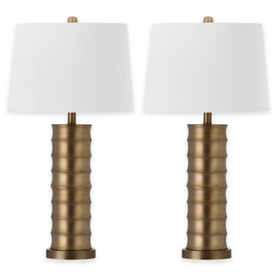 Safavieh Linus Column Table Lamps in Brass with White Cotton Shades (Set of 2)