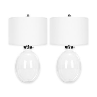 Safavieh Neville 1-Light Hollow Glass Table Lamps with Cotton Shade (Set of 2)