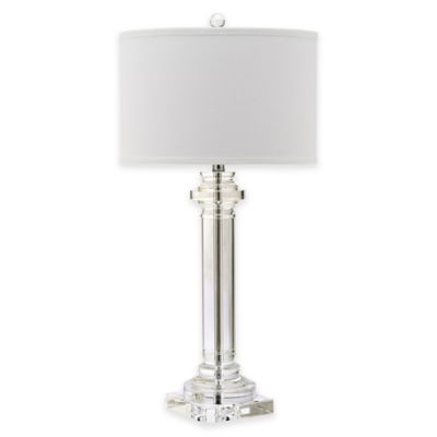 Safavieh Nina 1-Light Column Table Lamp in Clear with Cotton Shade