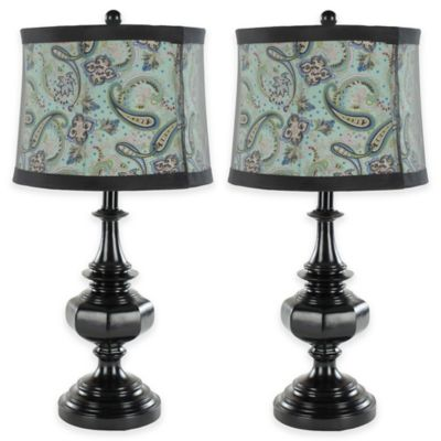 Safavieh Olivia 1-Light Vintage Table Lamps in Black with Paisley Shade (Set of 2)