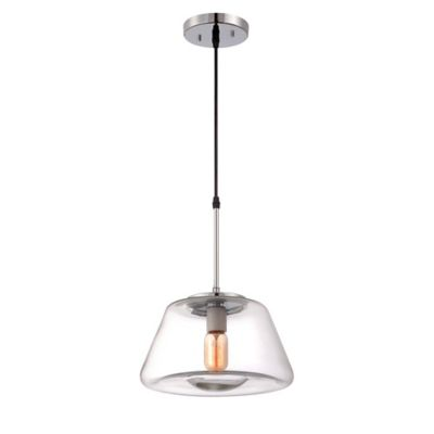 Sunset Lighting Nodin 1-Light Clear Glass Mini Pendant Light in Chrome