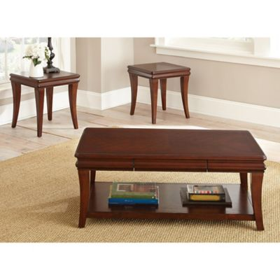 Steve Silver Aubrey 3-Piece Occasional Table Set in Cherry