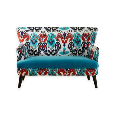 Baxton Studio Lacey Loveseat in Blue/Paisley Ikat