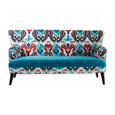 Baxton Studio Lacey Sofa in Blue/Paisley Ikat