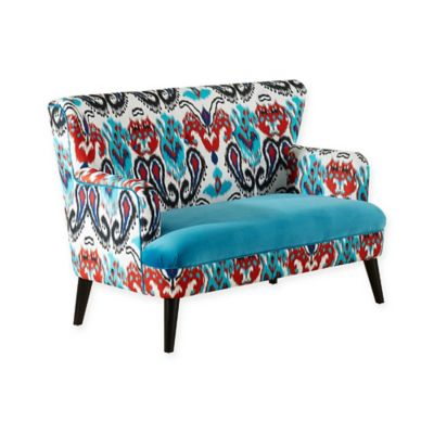 Baxton Studio Lacey Sofa Set in Blue/Paisley Ikat