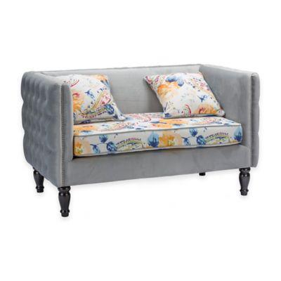 Baxton Studio Penelope Loveseat in Grey Velvet and Paisley-Floral