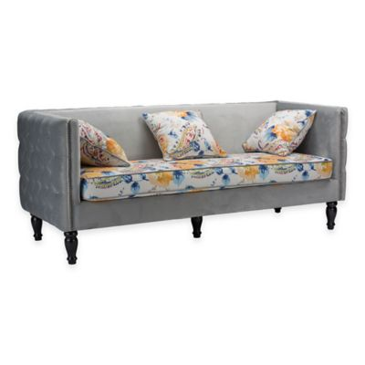 Baxton Studio Penelope Sofa in Grey Velvet and Paisley-Floral