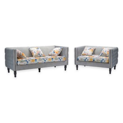 Baxton Studio Penelope Sofa Set in Grey Velvet and Paisley-Floral