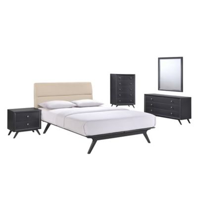 Modway Addison 5-Piece Queen Bedroom Set in Black/Beige