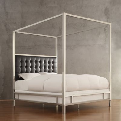 Verona Home Indio Chrome Framed King Canopy Bed in Grey