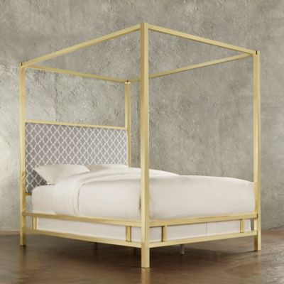 Verona Home Indio Gold Full Canopy Bed in Grey