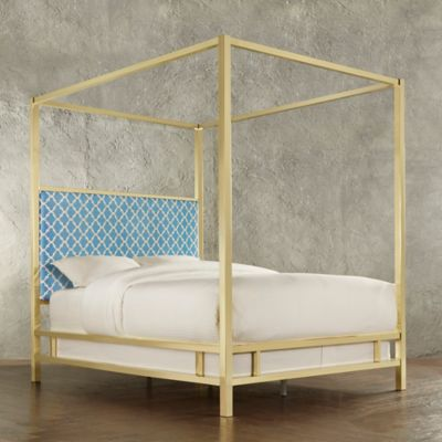 Verona Home Indio Gold Queen Canopy Bed in Blue