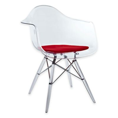 Modway Pyramid Dining Armchair in White/Red
