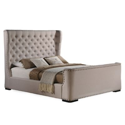 Baxton Studio Queen Zuckerman Sleigh Bed in Beige