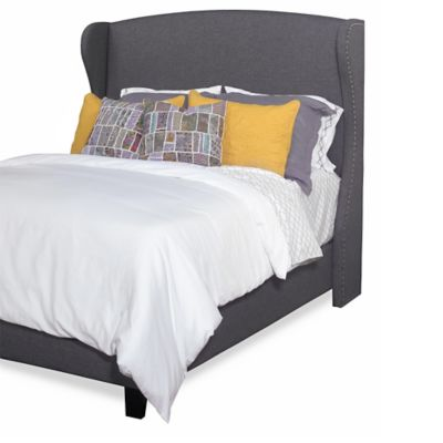 Progressive Furniture Whitney Queen Upholstered Winged Bed in Charcoal Grey