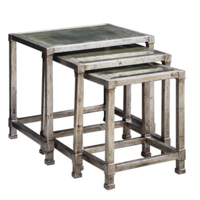 Uttermost Keanna Nesting Tables in Antiqued Silver (Set of 3)