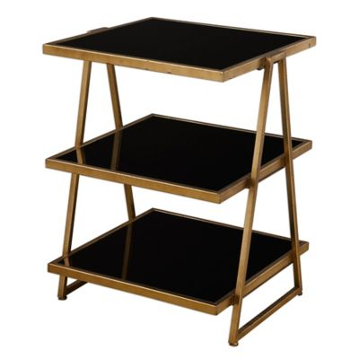 Uttermost Garrity Accent Table in Black Glass