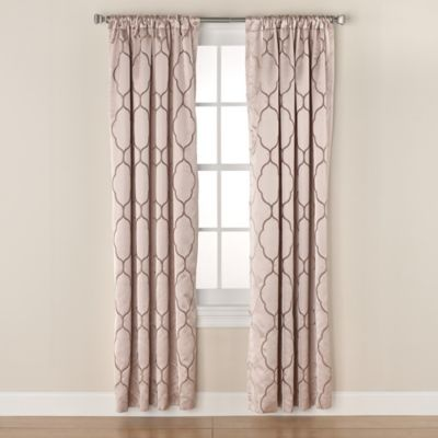 Linnea Embroidered 63-Inch Rod Pocket/Back Tab Window Curtain Panel in Ivory