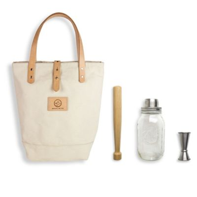 The Mason Shaker 4-Piece Cocktail Tote Kit in White
