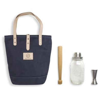 The Mason Shaker 4-Piece Cocktail Tote Kit in Navy