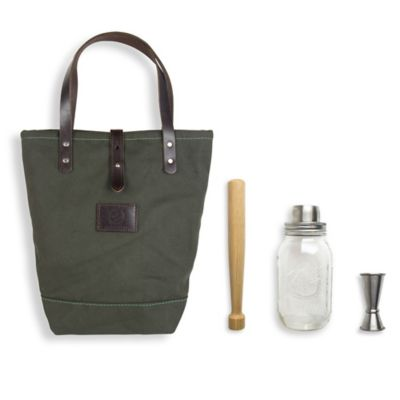 The Mason Shaker 4-Piece Cocktail Tote Kit in Denim