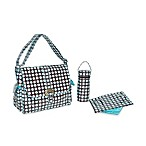 Kalencom Heavenly Dots Laminated Buckle Chocolate and Blue Diaper Bag