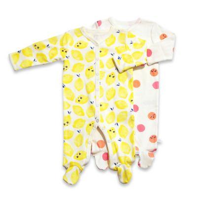 Rosie Pope® Size 0-3M Sweet Lemons 2-Pack Lemons/Smiley Face Footies in Yellow/Pink