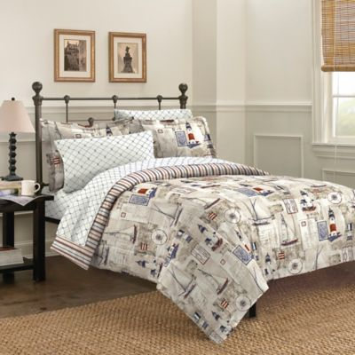 Free Spirit Cape Cod 7-Piece Reversible King Comforter Set in Blue
