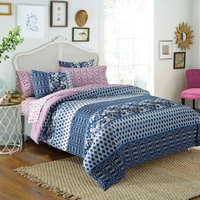 Free Spirit Floral 5-Piece Reversible Twin Comforter Set in Indigo
