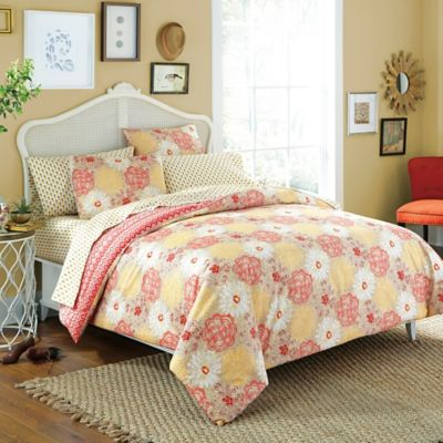 Free Spirit Wildflower 5-Piece Reversible Twin Comforter Set in Coral