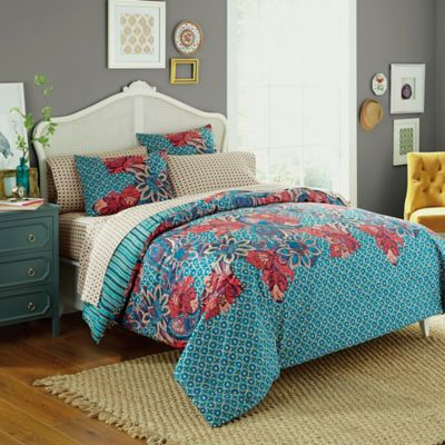 Free Spirit Rio 7-Piece Queen Reversible Comforter Set in Teal