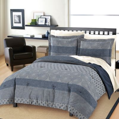 Free Spirit Marina 2-Piece Reversible Twin Comforter Set in Blue