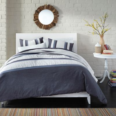 Bedwear Live Comfy Snuggle Stripe 3-Piece Reversible Full/Queen Comforter Set in Navy