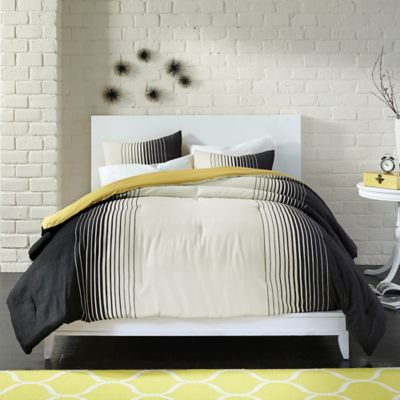 Bedwear Live Comfy Comfy Colorblock 3-Piece Full/Queen Reversible Comforter Set in Black
